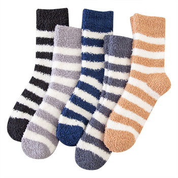 Men Socks Anklet Thicken Soft Breathable Soild Coral Cotton Striped Tube Warm Comfortable Winter Sleep