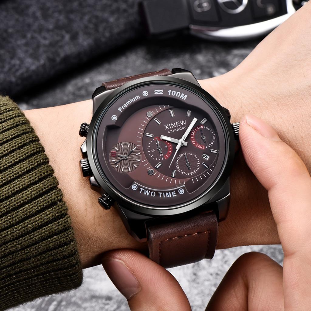 Мужские часы роскошные известные мужские часы Бизнес Мужские часы кожаный ремешок кварцевые наручные часы Мужские часы Relogio Masculino