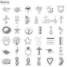 Buipoey 10mm argent plaqué breloque perlée ajustement Original Pandora acier inoxydable maille Bracelets pour femmes garçon filles sangle bijoux