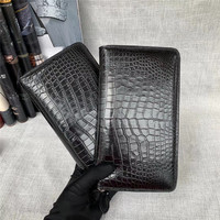 One piece Genuine Crocodile Leather Male Large Clutch Purse Men Long Wallet Authentic Alligator Belly Skin Card Holders For Man