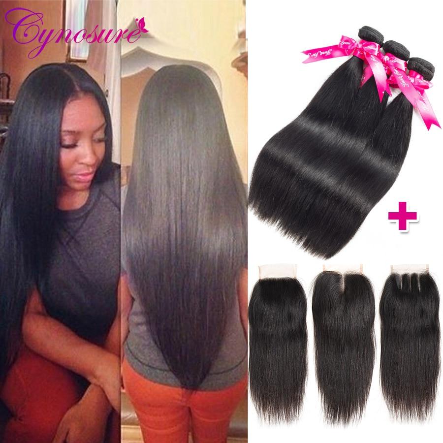 H20195c6e5bbd42fb91e48e1bfa376722e Cynosure Brazilian Straight Hair Weave 3 Bundles with Closure Natural Black Remy Human Hair Bundles with Closure