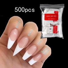 500pcs Clear White False Nail Acrylic Press on Toe Nails Half Cover Fake Nail Art Tips for Extension Long French Manicure Tools
