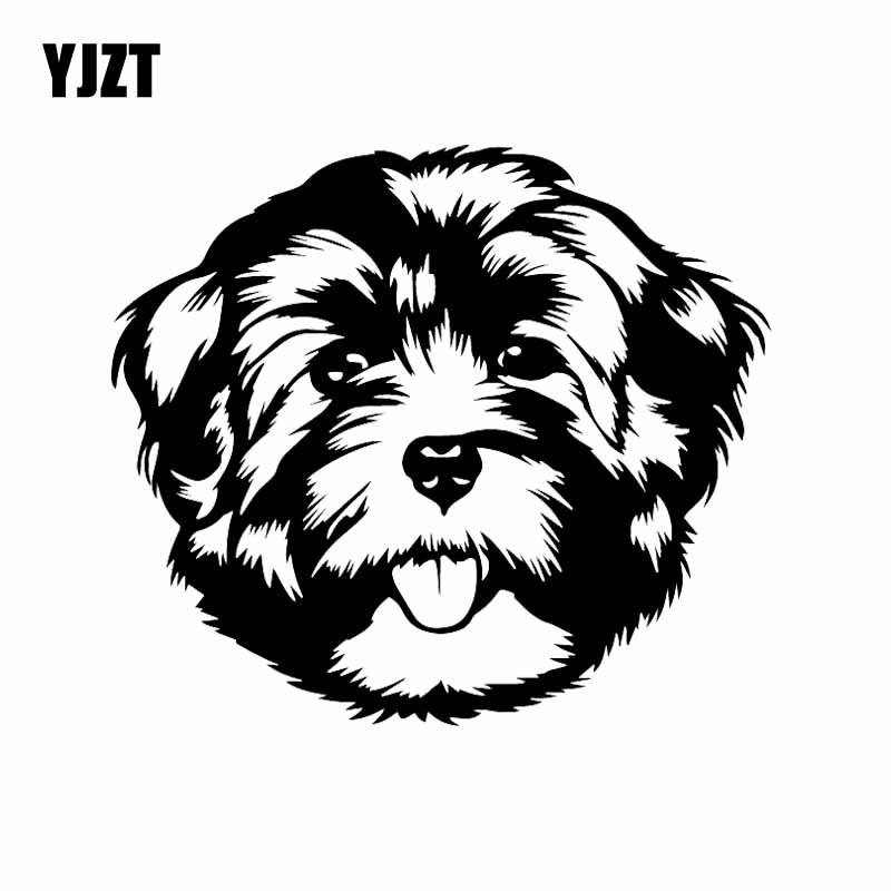 YJZT 16.1X14.1CM Cute Animal Car Sticker Havanese Face Vinyl Decal Dog Breed Black/Silver C24-1532