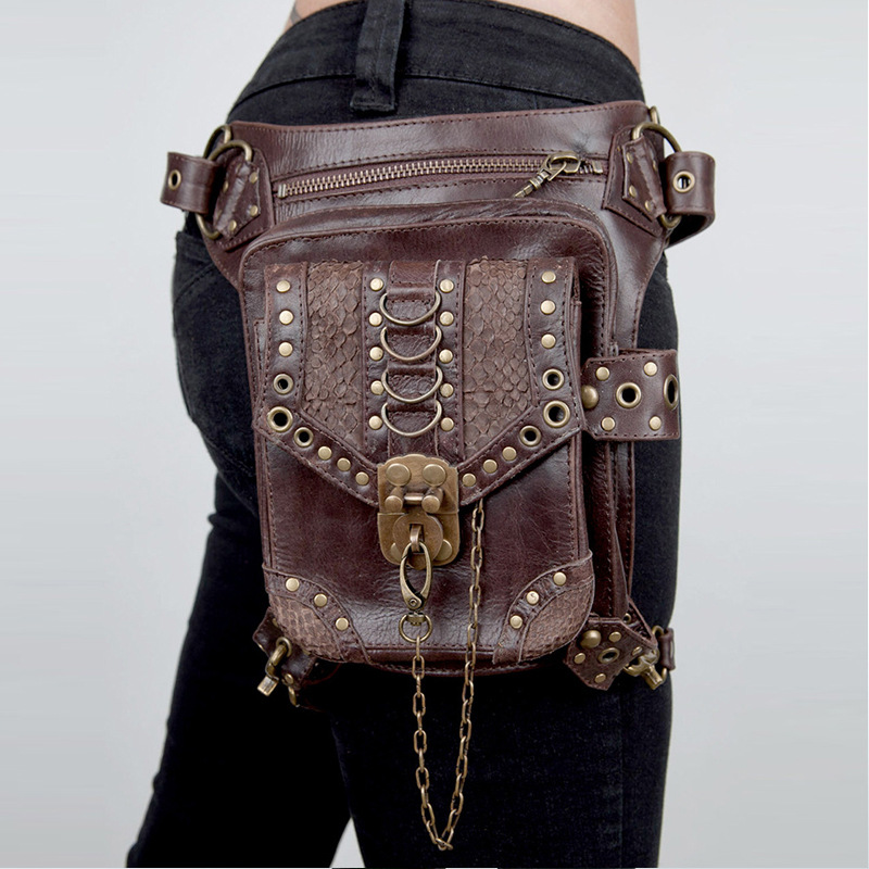 Steampunk Waist Bags Women Gothic Messenger Shoulder Bag Vintage Fanny Pack Fashion Unisex Retro Rock Waist Pack Small Leg Bag