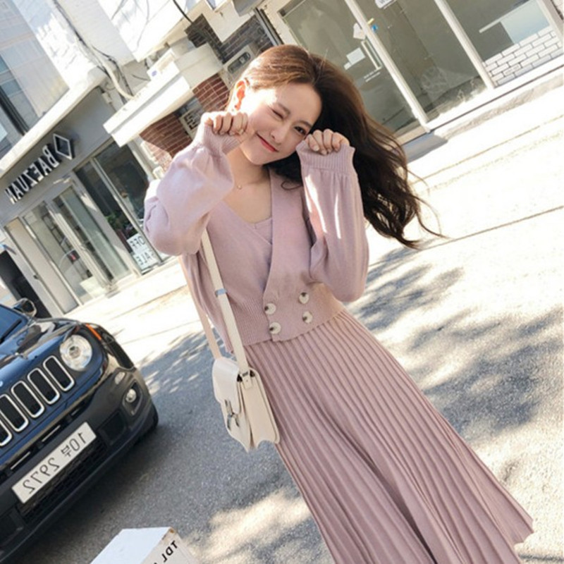 2019 Autumn Winter Women Knitted Double-breasted Pink Long Sleeved Coat Set + Skirt Pleated For Pleated Dress Set