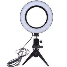 Photographie LED Selfie lumière annulaire 16CM Dimmable appareil photo téléphone anneau lampe 6 pouces avec trépieds de Table pour maquillage vidéo en direct Studio
