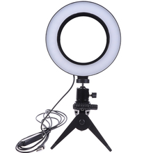 Photography LED Selfie Ring Light 16CM Dimmable Camera Phone Ring Lamp 6inch With Table Tripods For Makeup Video Live Studio