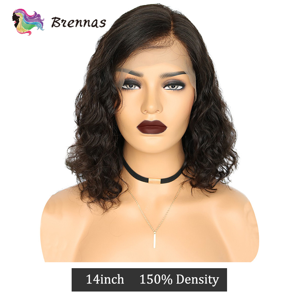 Side Part Natural Wave Human Hair Lace Wigs 13*4 Lace Front Wig Baby Hair Brazilian Non Remy Hair For Women Natural Color 8-16''