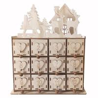 Innovative Christmas Calendar Storage Box Christmas Tree Elk Shape Wooden Boxes Decoration Ornaments Grocery Jewelry Organizer