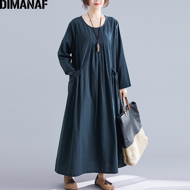 Image 2 - DIMANAF Plus Size Women Dress Winter Vintage Elegant Lady Vestidos Print Plaid Long Sleeve Female Clothes Loose Long Dress 2019-in Dresses from Women's Clothing