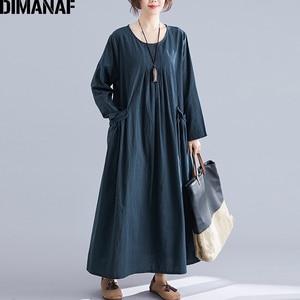 Image 2 - DIMANAF Plus Size Women Dress Winter Vintage Elegant Lady Vestidos Print Plaid Long Sleeve Female Clothes Loose Long Dress 2019