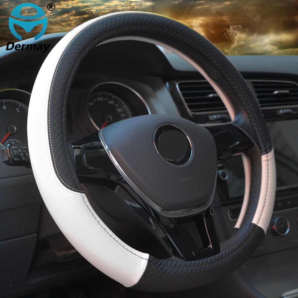 Housses de volant de voiture en cuir antidérapantes, couvre-volant de Sport, de style automobile, support Anti-accrochage, 9 couleurs