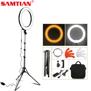 Image 1 - samtian ring lamp 18 inch ring light with tripod makeup mirror phone clip ring lamps dimmable 5500K for Youtube ringlight