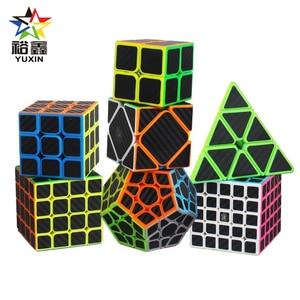 YUXIN Carbon Fiber Sticker 2x2x2 3x3x3 4x4x4 5*5*5 Megaminx Skew Pyramid Magic Cube Speed Puzzle Cube Educational Toys