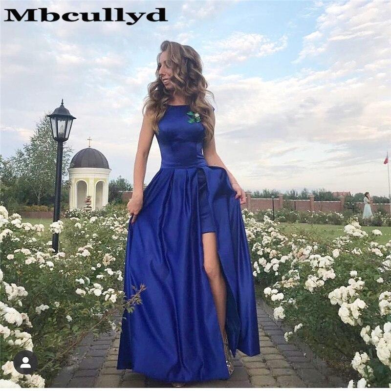 Mbcullyd Vintage Sccop Neck   Prom     Dresses   Long 2019 Royal Blue Satin Formal   Dress   Evening Gowns With Split Vestidos De Gala