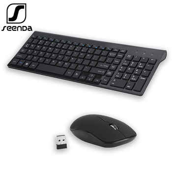 SeenDa Low-Noise Wireless Keyboard and Mouse Combo Ultra-Thin Wireless Keyboard Mouse for Laptop Notebook Computer Smart TV 2 4g wireless keyboard and mouse combo orsolya whisper quiet english german de italian it layout keyboard rose gold silver