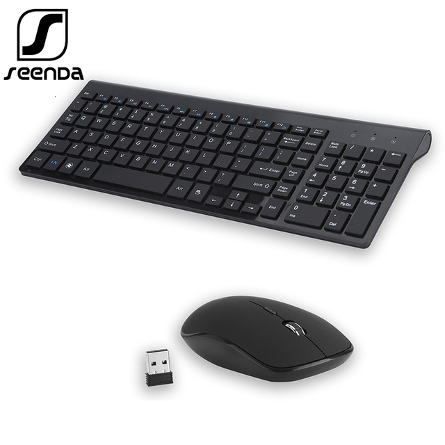 SeenDa Low Noise Wireless Keyboard and Mouse Combo Ultra Thin Wireless Keyboard Mouse for Laptop Notebook Computer Smart TV