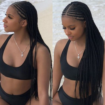 Charisma Hot Selling 13X6 Middle Part Braids Wig Synthetic Lace Front Wig with Natural Hairline Box Braided Wigs for Black Women