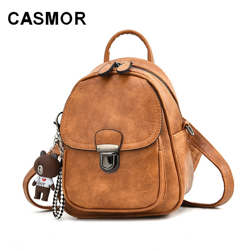CASMOR Backpack Women's 2020 New Korean Solid Shoulder Bags Casual Mini WOMEN'S Backpack Fashion Small Leather Backpack