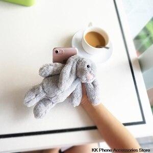 Image 4 - 3D Bunny Doll Case dla iPhone 11 Pro Max 6 6s 7 8 Plus X XR XS królik włosów Furry pokrywa dla Samsung S20 uwaga 10 + S10 S8 S9 S7 S6