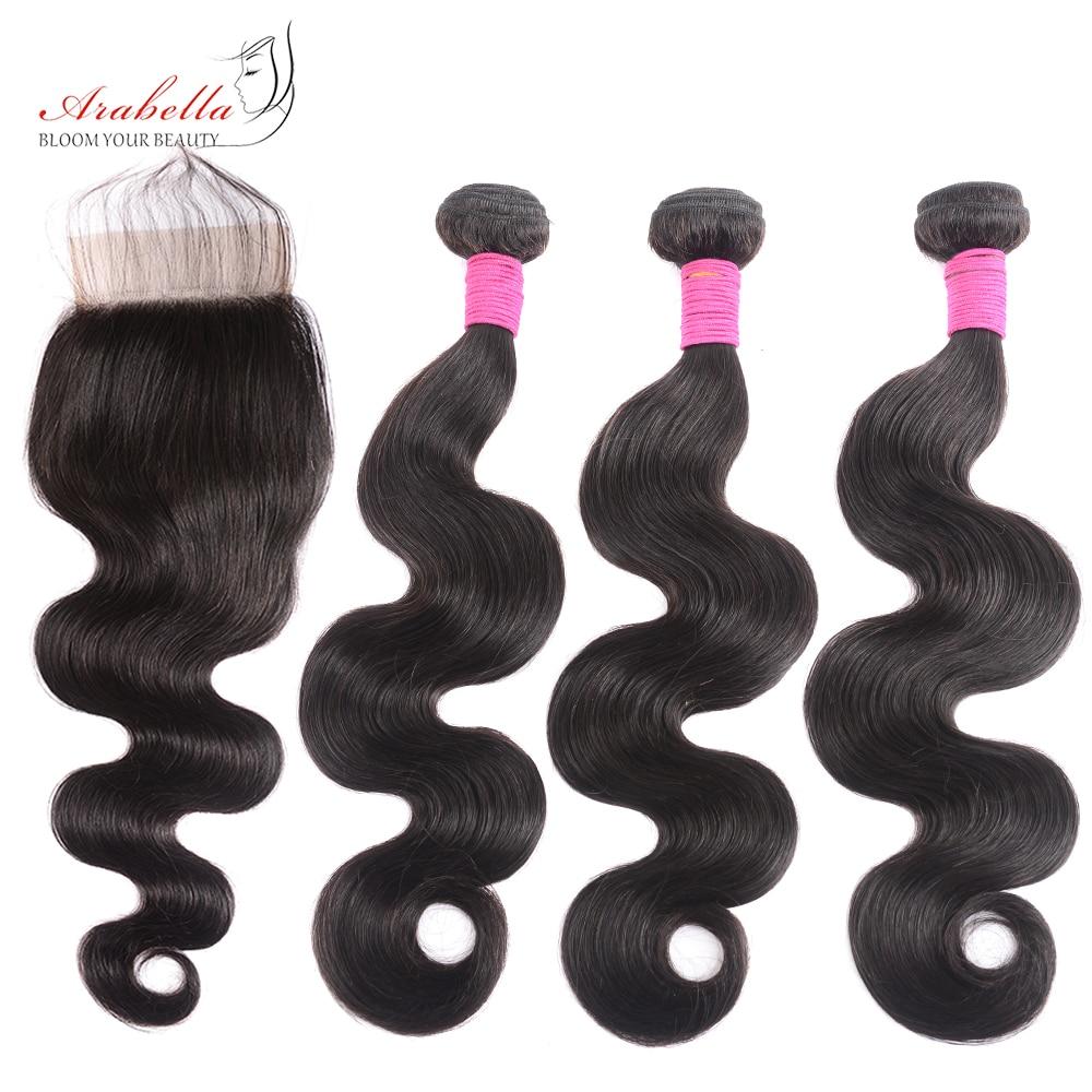 4x4 Transparent Lace Closure With   Bundles  Body Wave Hair 3 Bundles With HD Closure Arabella  Hair 1