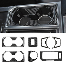for Ford F150 2015 2020 Gear Shift Sticker Ignition Headlight Swicth Cup Holder Panel Decoration Cover Trim Car Accessories
