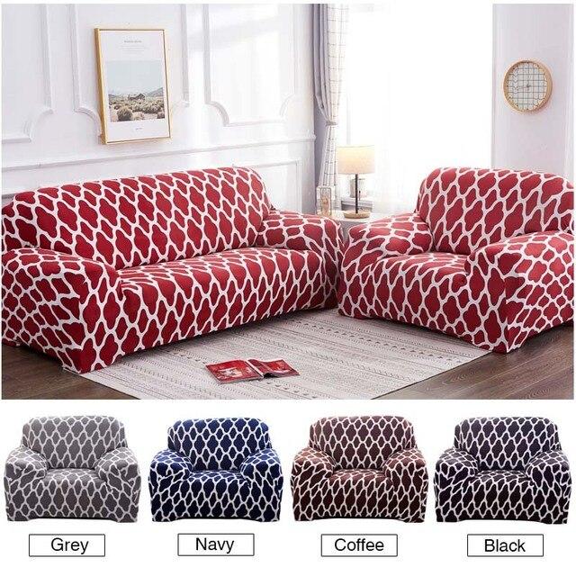 Фото геометрический эластичный чехол для дивана на стул современный