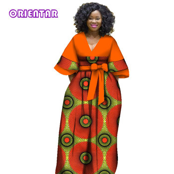 African Dresses for Women Bazin Riche Ankara Dresses Femme African Clothes Lady African Print Plus Size Dashiki Gown WY2841 2020 african dashiki design clothes for lady print appliques with two pockets spring