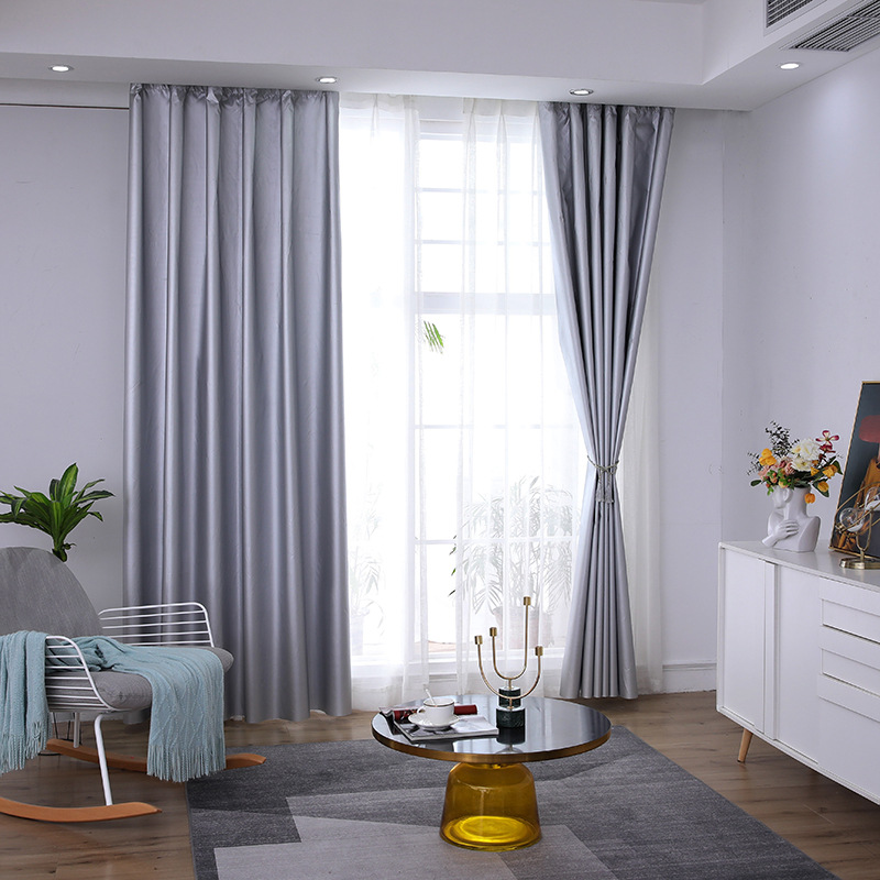 Nordic Modern Grey Blackout Curtains For Window Treatment Blinds Custom-Maded Drapes Blackout Curtains For Livingroom Bedroom
