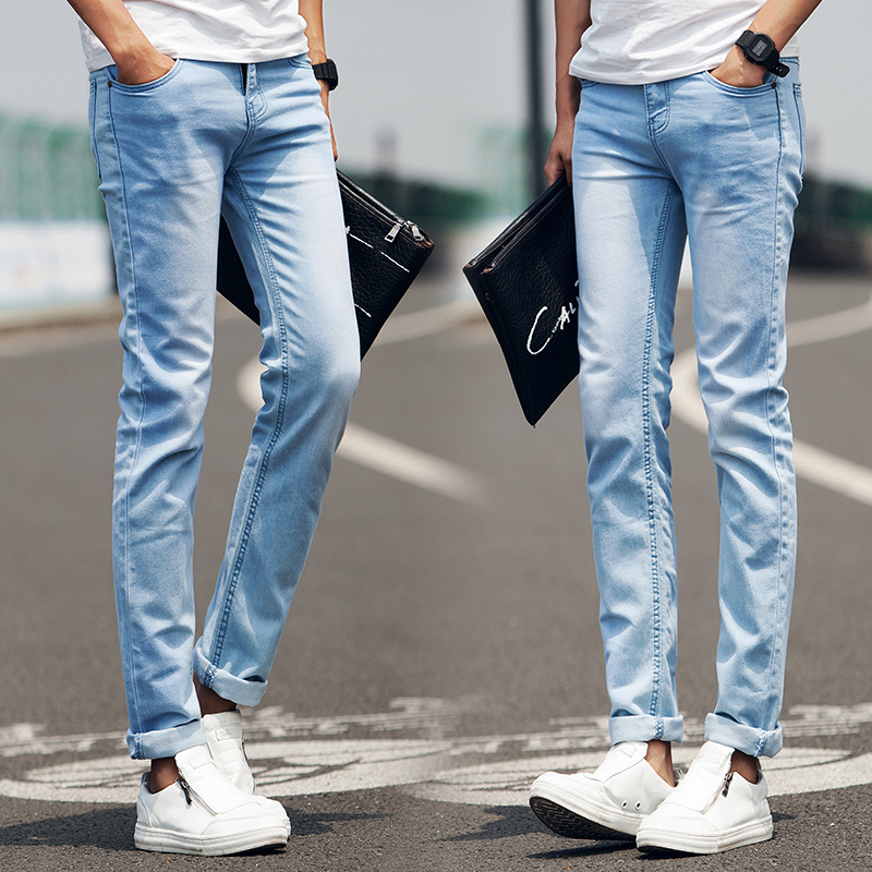 Autumn Thin MEN'S Jeans Men's Summer Youth Slim Fit Pants MEN'S Trousers Casual Trousers 2019 New Style