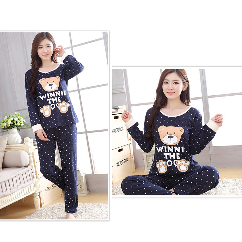 Women's sleepwear suit spring and autumn winter cartoon long-sleeved pajamas ladies trousers women's winter home service suit