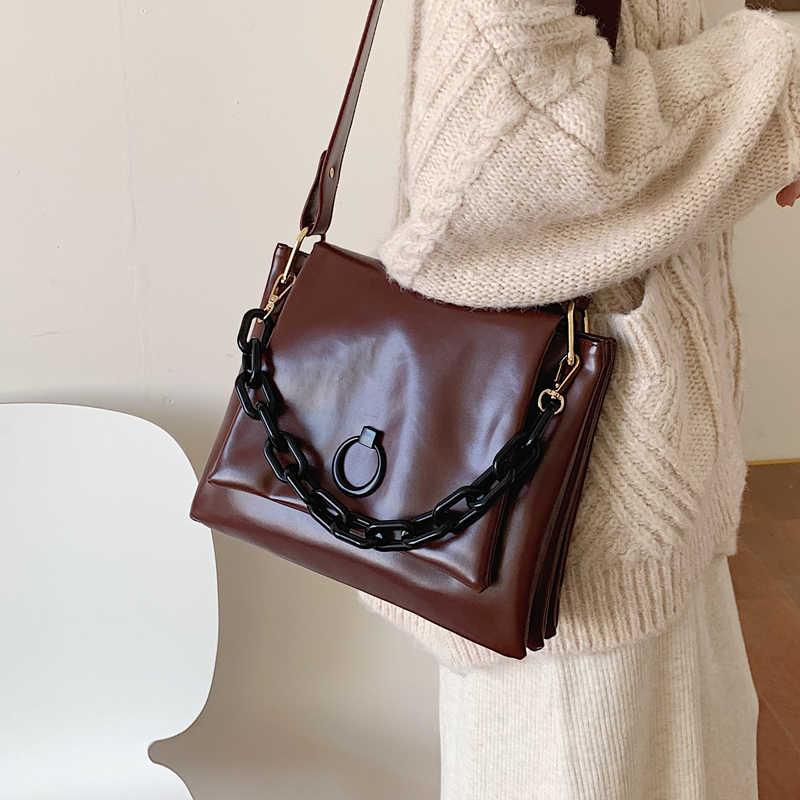 Alta qualidade de couro macio das mulheres bolsa de ombro corrente alça larga bolsa crossbody sacos do mensageiro para as mulheres bolsa de hombro