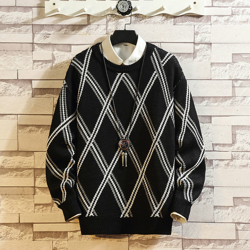 Men's Diamond Color Contrast Round Neck Sweater Fashionable And Versatile, Handsome And Loose Day Casual Pullover Large Knitwear