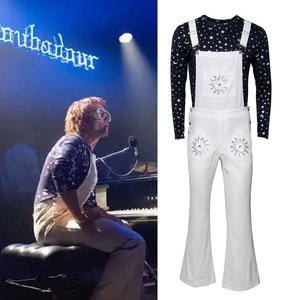 Image 1 - Rocketman disfraz de Halloween de Elton John para adultos, traje de carnaval, pantalones con pechera, Disfraces de Halloween, talla XS XXXL
