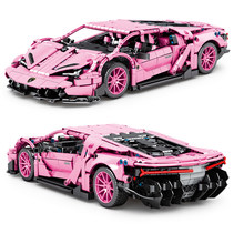1294 pces alta-tecnologia rosa super carro de corrida esportes blocos de construção da cidade velocidade veículo supercar crianças tijolos modelo brinquedos presentes