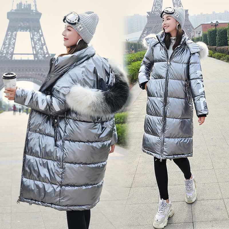 -20°Winter Thick Warm Parka Hooded Fur Jackets 2019 Women's Down Jacket Windproof Glossy Loose Female Cotton Coat Outwear ladies