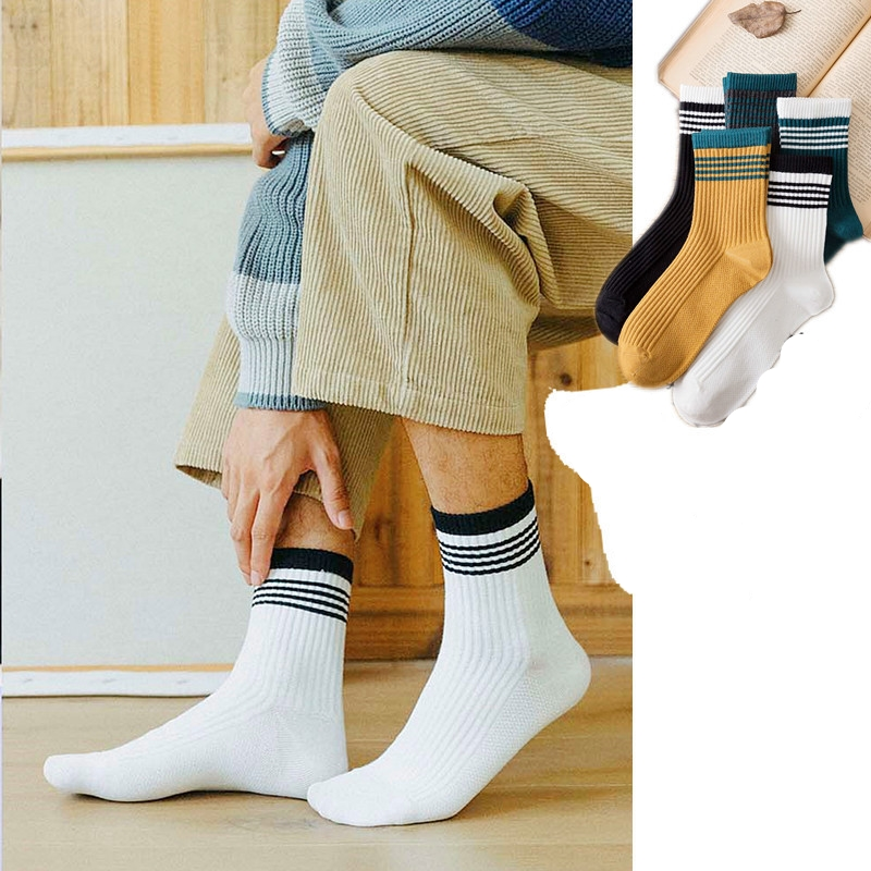 Men Socks Black White Color Fashion Style Simple Striped Sports Socks Medium Length Casual Socks