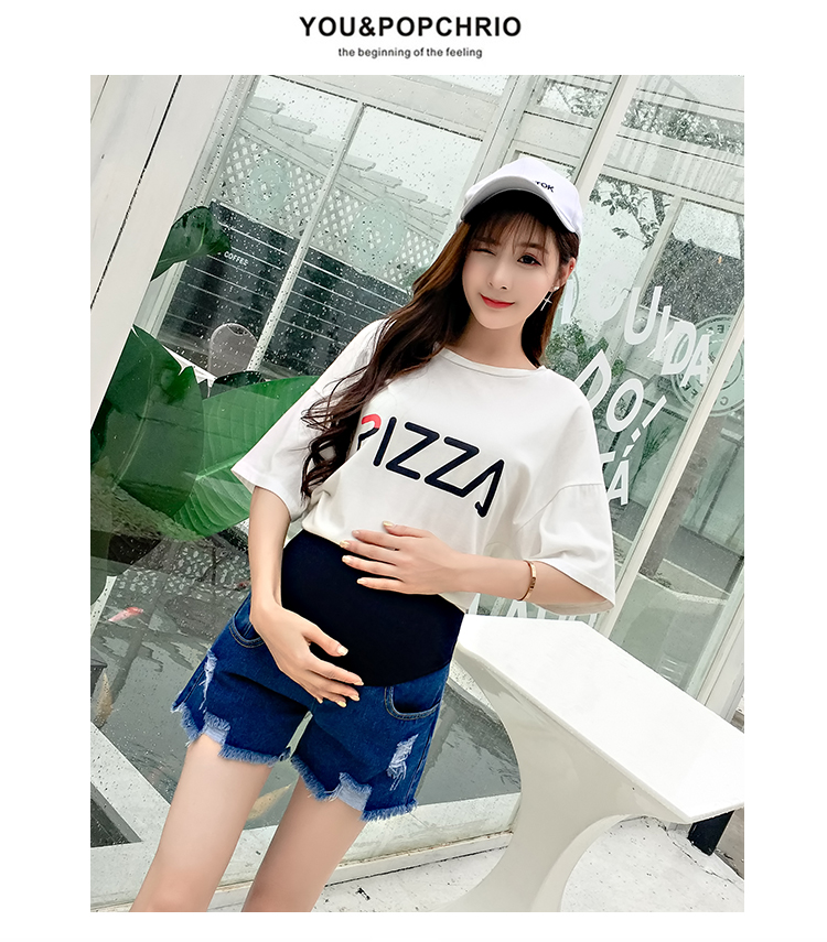 105# Summer Casual Denim Maternity Shorts Elastic Waist Belly Short Jeans Clothes for Pregnant Women Hot Ripped Hole Pregnancy