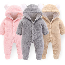 купить Baby Rompers Newborn Winter Hoodie Girls Clothes Polyester Baby Boy Romper Pink Climbing Outwear Infant Baby Jumpsuit 3M-12M по цене 695.6 рублей