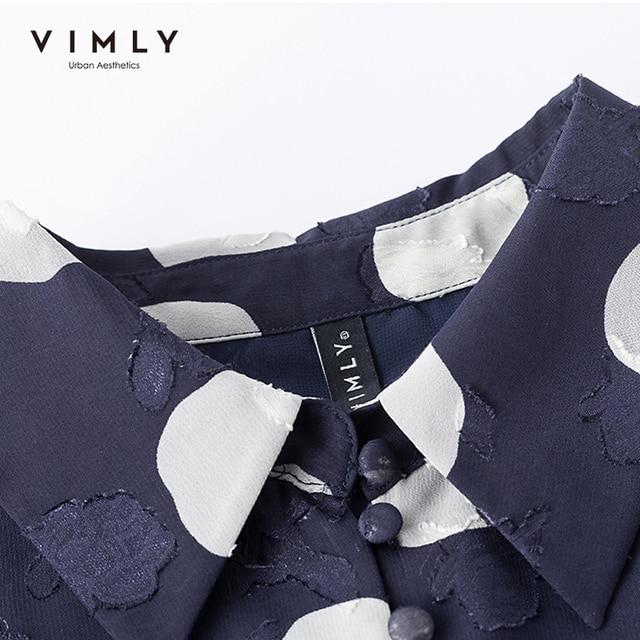 VIMLY New Summer Women Shirts Elegant Button Up Shirt Short Sleeve Casual Dot Blouse Ladies Vintage Blusas Female Tops F7502 4