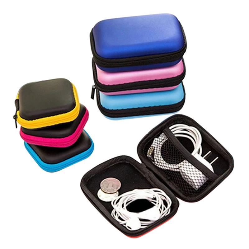 Junejour Earphone Wire Organizer Box Headphone Case Travel Storage Bag For Earphone Charger Storage Box