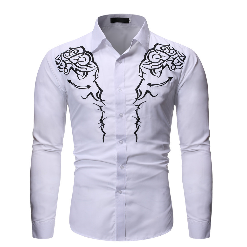 SAGACE Men's Embroidered Long Sleeve Shirt  Casual Shirts Tops Male Clothing Turn-down Collar Single-breasted Slim Shirt Fashion