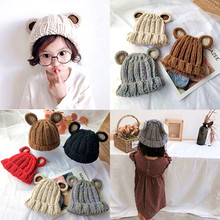 цена на Kids Winter Hats Ears Girls Boys Children Warm Caps Scarf Set Baby Bonnet Scarves Enfant Knitted Cute Hat for Baby Beanies