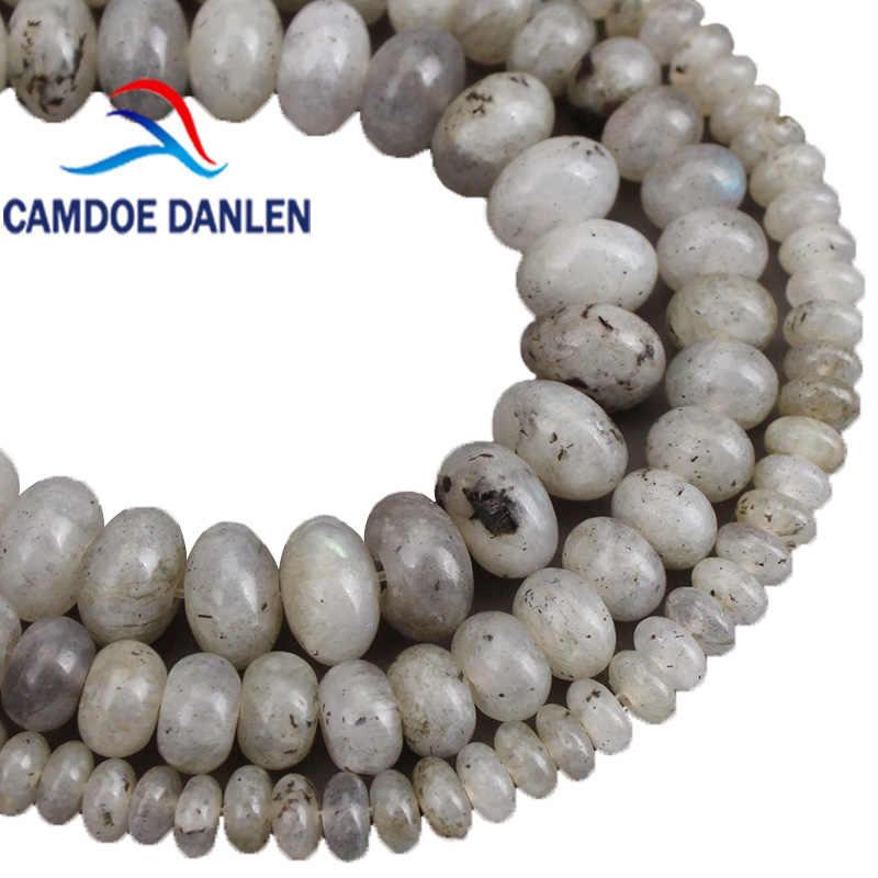 Naturstein Perlen Grau Labradorit Abacus Spacer Perlen 4 6 8mm DIY Handgemachte Halskette Armband Schmuck Machen Zubehör