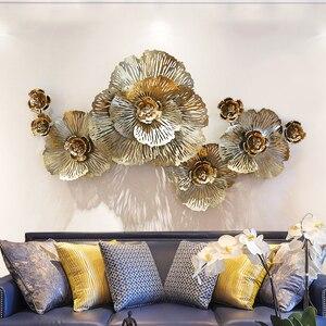 Европейский роскошный 3D стерео кованого железа настенный пион искусственный цветок ремесла украшение дома диван настенный фон орнамент