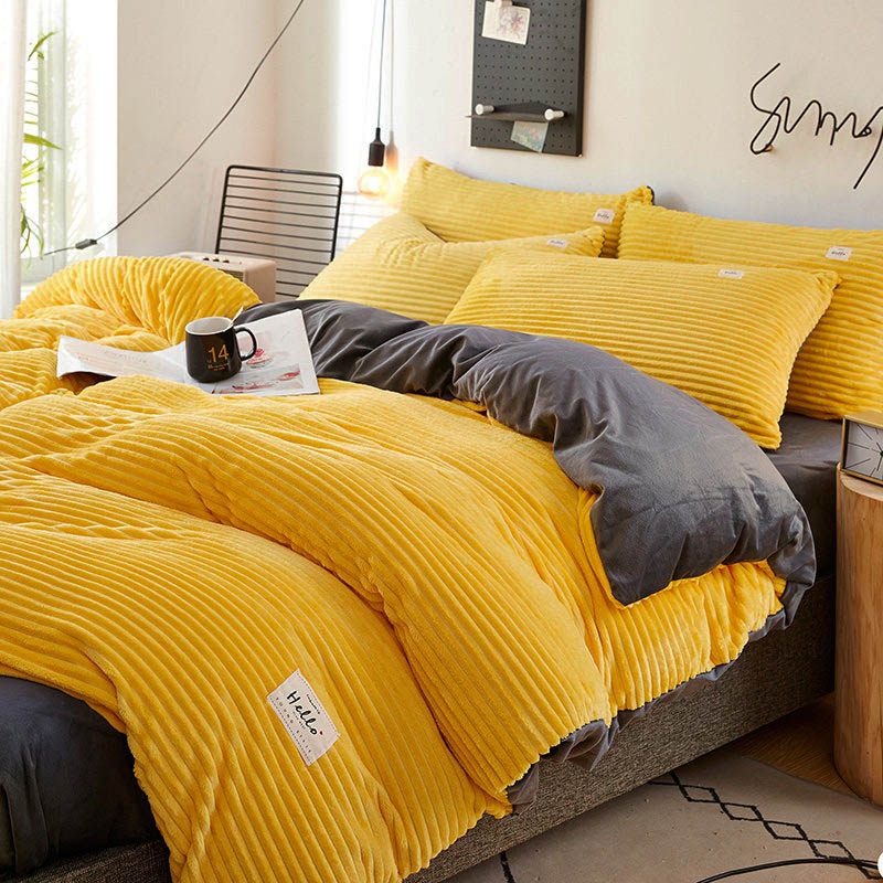 Solid Color Quilt Cover For Bedroom Coral Velvet Duvet Covers Thicken Bedding Set Keep Warm Double Bedding Quality Duvet Cover