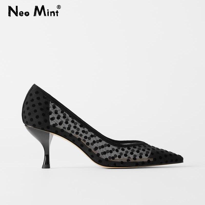 Novo 2020 Polka Dot Malha Mulheres Bombas Saltos Gatinho Sapatos Mulher Apontou Dedo Do Pé Das Senhoras Sapatos de Escritório Marca Designer Outono Saltos sapatos
