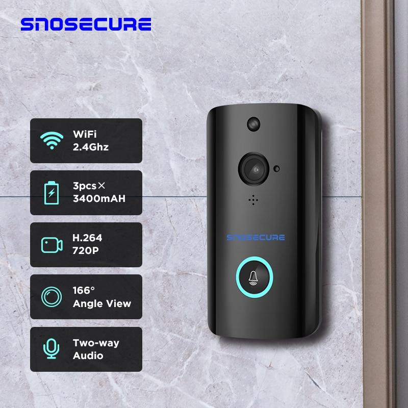 SNOSECURE Wireless WiFi Doorbell Camera IP 720P Ring Video Door Bell Intercom Two Way Audio APP Control Infrared Night Vision