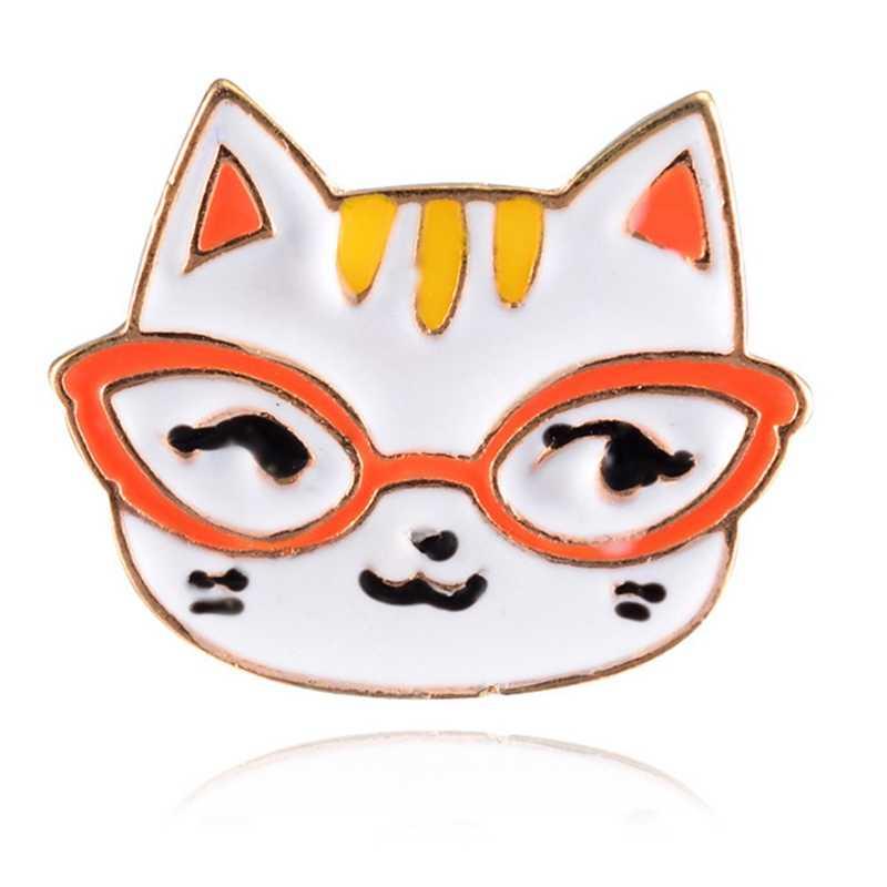 Oranye Putih Kacamata Kucing Kepala Bros Enamel Pin Wanita Fashion Anak Kartun Hewan Tombol Pins Kemeja Denim Lencana Perhiasan