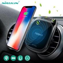 Qi voiture chargeur sans fil pour iPhone 11/ XS pour Samsung S9 voiture aromathérapie Nillkin 3 en 1 support de téléphone de montage de véhicule magnétique